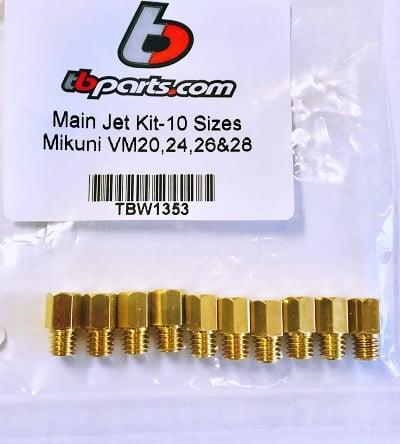 TBparts Main Jet Kit for Mikuni VM20, VM24, VM26, VM28 - TBW1353