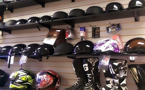 A variety of helmets for sale at High Profile Powers